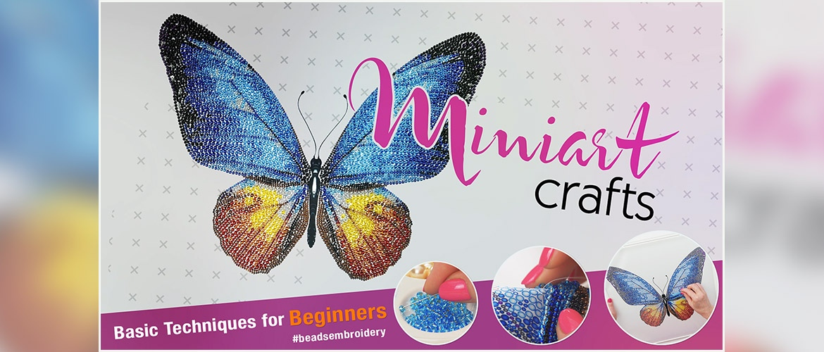 MINC11027 Miniart Crafts Yellow Bouquet Bead Embroidery Kit